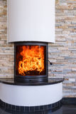 An interior shot of a modern marble fireplace Royalty Free Stock Photography