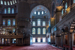 Interior shot of mosque in Istanbul, Turkey. Royalty Free Stock Images