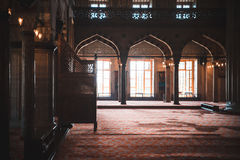 Interior shot of mosque in Istanbul, Turkey. Royalty Free Stock Photography