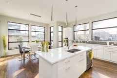 Free Interior Shot Of A Modern House Kitchen With Large Windows Stock Images - 155556644