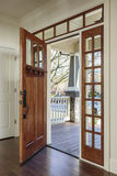 Interior shot of an open Wooden Front Door stock photo