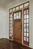 Interior shot of an closed Wooden Front Door Royalty Free Stock Image