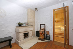 Interior shot of sauna lounge Stock Photo