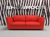 Interior show-room. Virtual show-room with red sofa and wall with zebra fur Royalty Free Stock Image