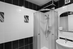 Interior showers with toilets are in black and white Royalty Free Stock Images