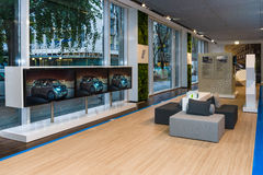The interior of showroom of the German car manufacturer BMW. Royalty Free Stock Photos
