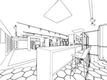 Interior showroom offfice outline drawing sketch Royalty Free Stock Image