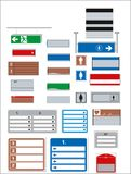 interior signage concept direction pole wall mount. stock illustration