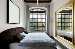 Interior sikt av sovrummet Royaltyfri Foto