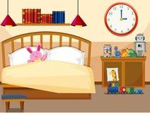 Interior of simple bedroom vector illustration