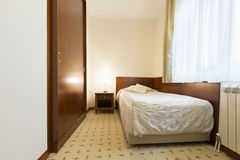 Interior of a single bed hotel room Stock Image