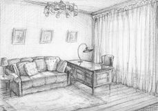 Interior sketch. The interior sketch of the cabinet. Pencil, paper Royalty Free Stock Photo