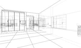 Interior sketch or blueprint. 3d illustration. Wire-frame style Royalty Free Stock Image