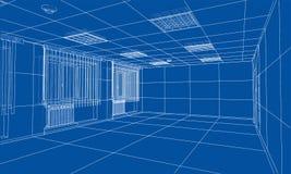 Interior sketch. 3d illustration. Interior sketch or blueprint. 3d illustration. Wire-frame style Stock Photo