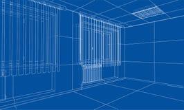 Interior sketch. 3d illustration. Interior sketch or blueprint. 3d illustration. Wire-frame style Stock Photos