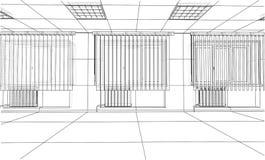 Interior sketch. 3d illustration. Interior sketch or blueprint. 3d illustration. Wire-frame style Stock Images