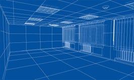 Interior sketch. 3d illustration. Interior sketch or blueprint. 3d illustration. Wire-frame style Stock Photography