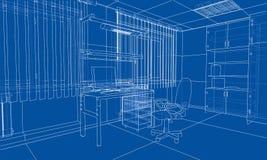 Interior sketch. 3d illustration. Interior sketch or blueprint. 3d illustration. Wire-frame style Royalty Free Stock Images