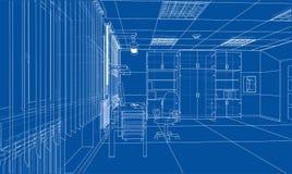 Interior sketch. 3d illustration. Interior sketch or blueprint. 3d illustration. Wire-frame style Royalty Free Stock Image
