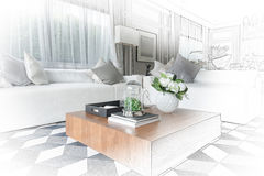 Interior sketch design of modern living room with modern chair a royalty free stock photo