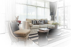 Interior sketch design of modern living room with modern chair a Royalty Free Stock Images