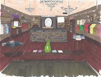 Interior sketch of retail. Sketch of a retail store Stock Images