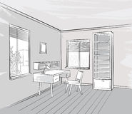 Interior sketch Retro working place furniture. Living room view Royalty Free Stock Photography