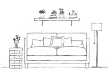 Interior in sketch style. Sofa, bedside table, floor lamp and shelf with plants. Vector stock illustration