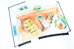 Interior sketch with watercolor Stock Photo
