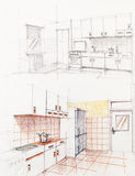 Interior sketched perspective of apartment kitchen Stock Image