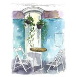 Interior sketching in a cafe with watercolor. stock illustration