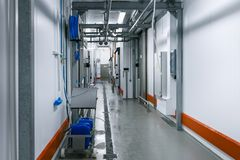Interior of the slaughterhouse corridor. In meat plant royalty free stock image