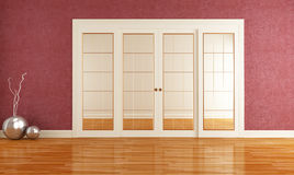 Interior with sliding door Royalty Free Stock Images