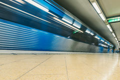 Interior of Slussen metro station in Stockholm, Sweden Royalty Free Stock Photo