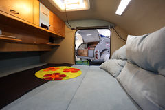 Interior of a small caravan Stock Photos