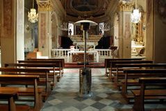 Interior of small church. Details of the interior or inside of a small church Royalty Free Stock Photo