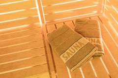 Small home Finnish wooden sauna royalty free stock photos