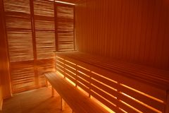 Interior of small home wooden sauna royalty free stock photos