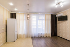 The interior of small room studio renovated unfurnished Stock Photo
