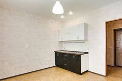 Interior in a small studio apartment. kitchen set. repair in a new building