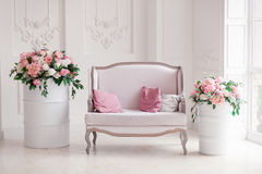 Interior of a snow-white living room with a vintage sofa and flowers royalty free stock image
