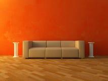 Interior - sofá cómodo en la pared roja stock de ilustración