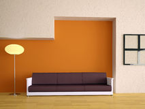 Interior with a sofa. Sofa and lamp near a orange wall Royalty Free Stock Images