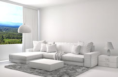 Interior with sofa and CAD wireframe mesh. 3d illustration Royalty Free Stock Photo