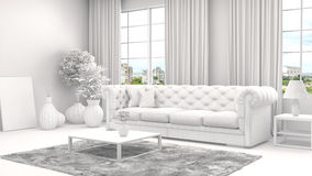 Interior with sofa and CAD wireframe mesh. 3d illustration Royalty Free Stock Photography