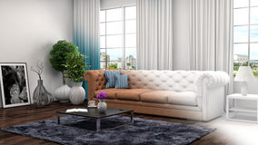 Interior with sofa and CAD wireframe mesh. 3d illustration Royalty Free Stock Images