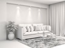 Interior with sofa and CAD wireframe mesh. 3d illustration.  Stock Photos