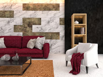 Interior with sofa. 3d illustration Stock Photography