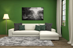 Interior with sofa. 3d illustration Stock Photos