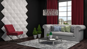 Interior with sofa. 3d illustration Royalty Free Stock Photography
